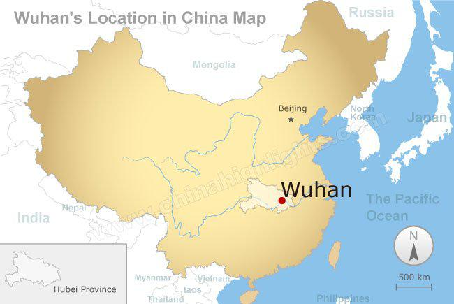 wuhan location map