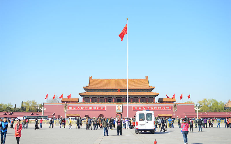 Bandera China en Plaza de Tiananmen